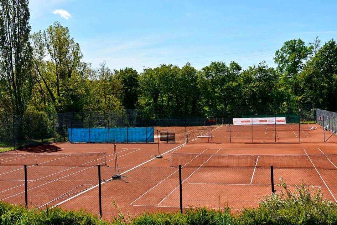 Auf einem der vier Tennisplätze des TC...soll die Beach-Sport-Anlage entstehen.    Foto: Heinz und Monika Vollmar