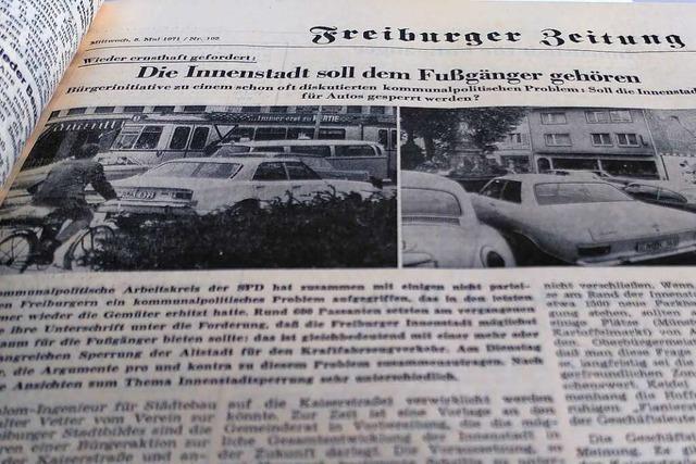 Auf der Kaiser-Joseph-Straße drängelten 1971 noch die Autos