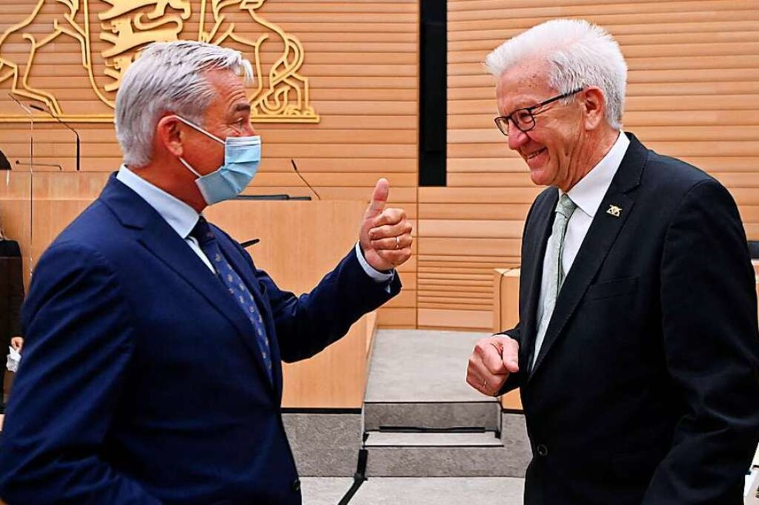 Baden-Württembergs Innenminister Thoma...nach der Wahl zum Ministerpräsidenten.  | Foto: MARIJAN MURAT (AFP)