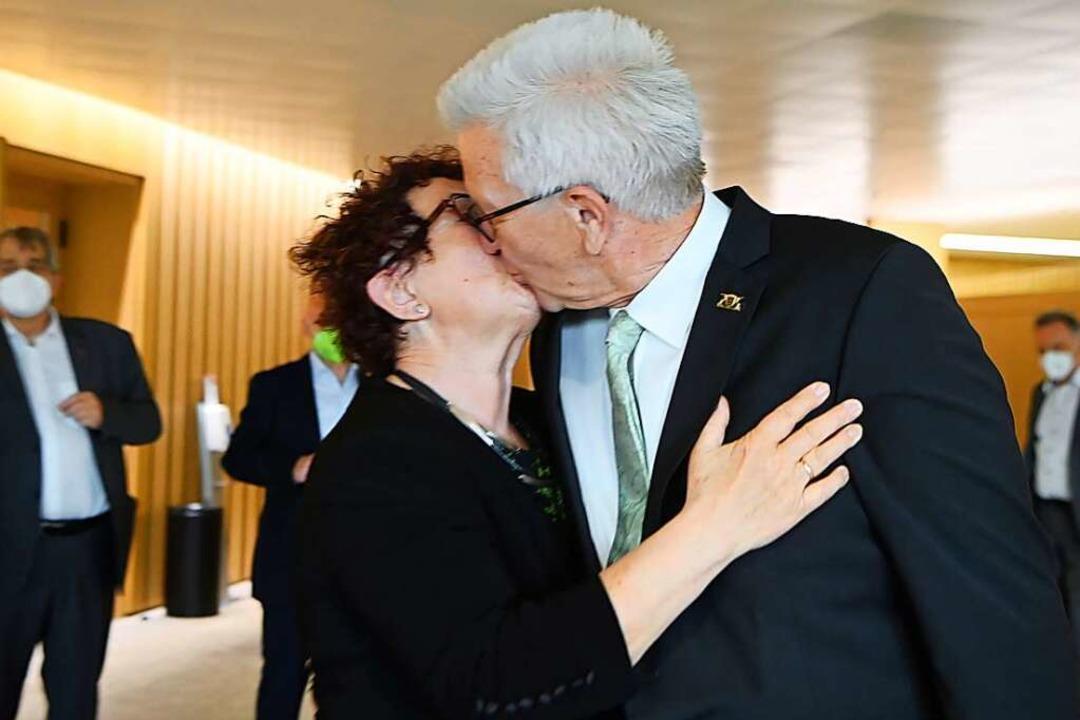 Winfried Kretschmann und seine Ehefrau Gerlinde  | Foto: Marijan Murat (dpa)
