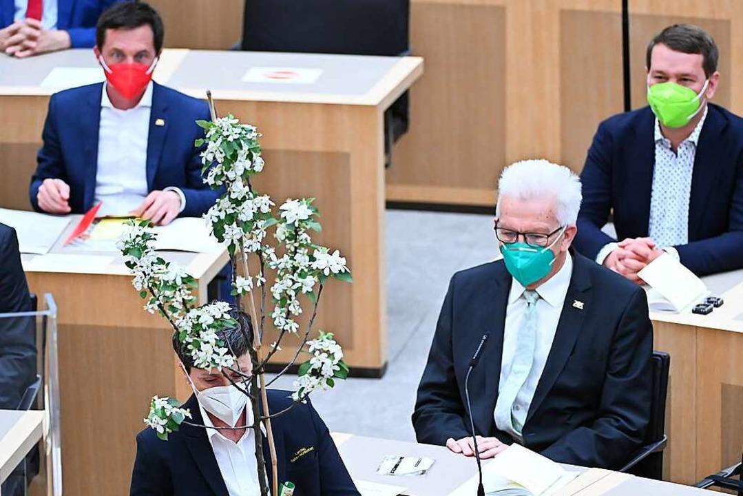 Als Geschenk des Landtags bekommt Winfried Kretschmann einen Apfelbaum.  | Foto: Bernd Weißbrod (dpa)