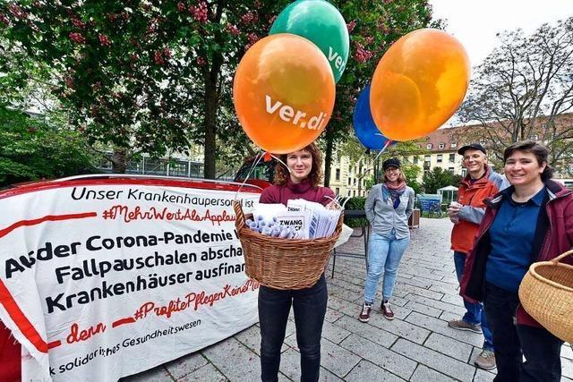 Verdi protestiert auf dem Campus der Uniklinik Freiburg