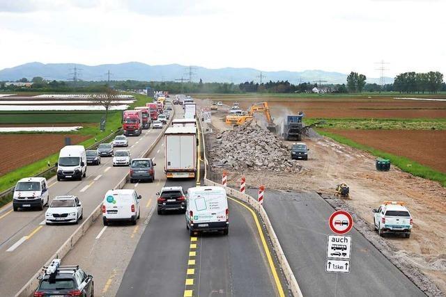 Die Arbeiten auf der Autobahn 5 zwischen Ettenheim und Herbolzheim laufen planmäßig