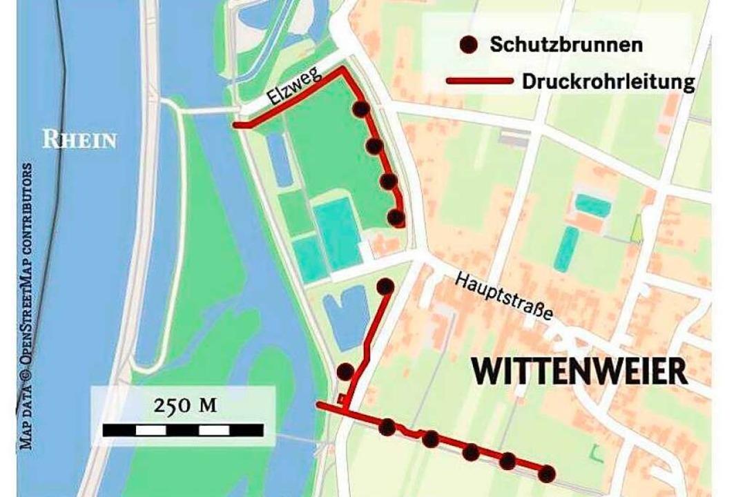 Die geplanten Schutzbrunnen    Foto: BZ-Graphik