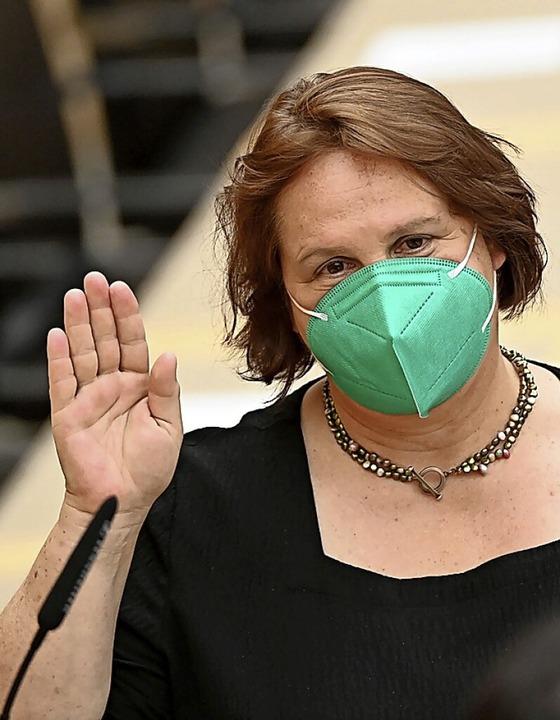 Theresa Schopper während ihrer Vereidigung am Mittwoch    Foto: Bernd Weißbrod (dpa)