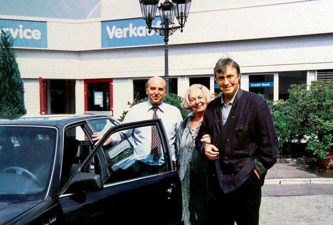 Besuch in Freiburg: Franz Xaver Grünwa...xander und dessen Ehefrau Hilde Haagen  | Foto: Autohaus Gehlert