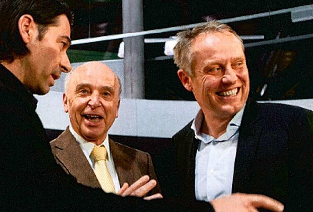 Sportlich (von links): SC-Profi Martin...Trainer Christian Streich im Jahr 2013  | Foto: Autohaus Gehlert