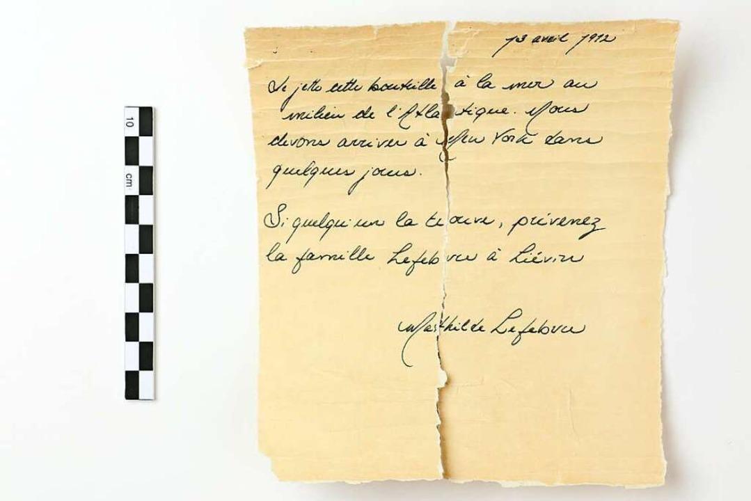 Der Brief, der von Mathilde Lefebvre s...Opfer des Untergangs der Titanic 1912.  | Foto: Nicolas Beaudry/UQAR