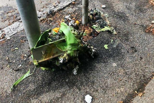 Mülleimer in der Feldbergstraße komplett ausgebrannt