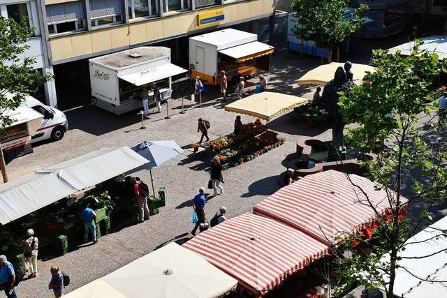 Lörracher Wochenmarkt zieht wieder komplett auf Neuen Marktplatz