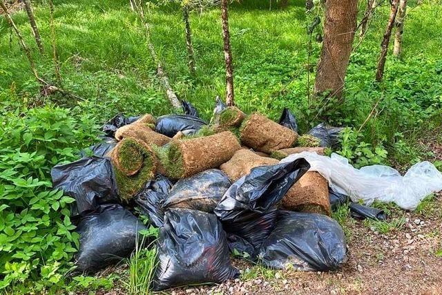 Im Nollinger Wald wurde Rollrasen und allerhand anderer Müll entsorgt