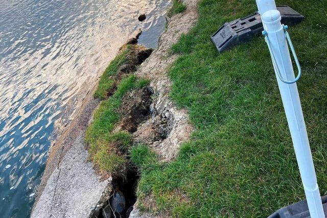 Die abgebrochene Ufermauer am Hertener Loch wird ersetzt