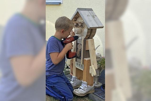 Kinder bauen Insektenhotels