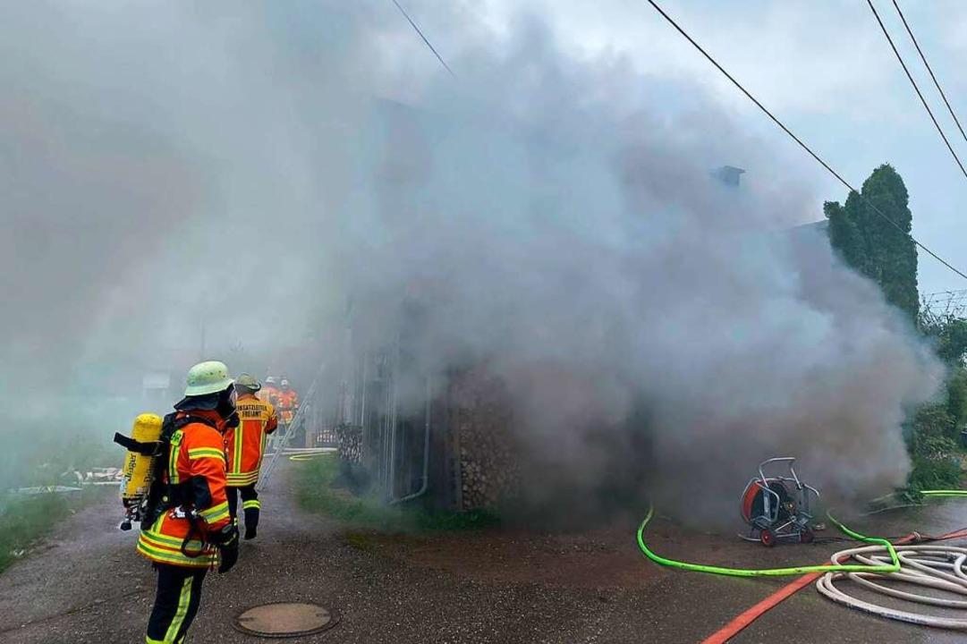 In einer zu einem Wohnhaus umgebauten ...ich einer Heizungsanlage ein Brand aus  | Foto: Michael Hilbert