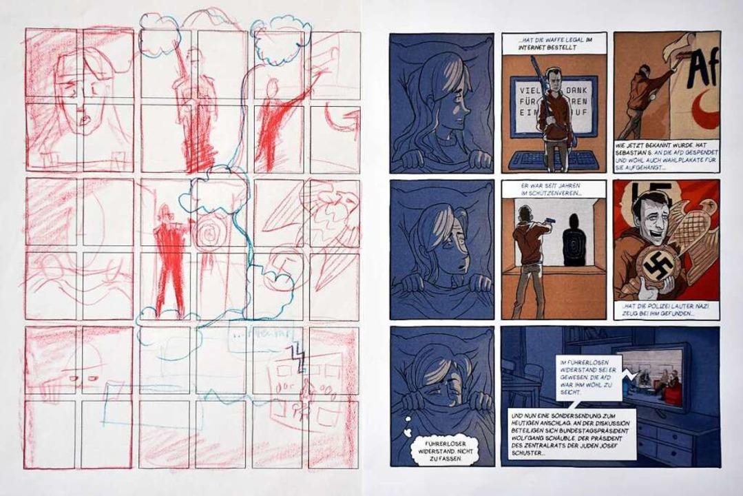 Eine Seite aus der Graphic Novel &#822...hts) und der zugrundeliegende Entwurf.    Foto: Thomas Kunz