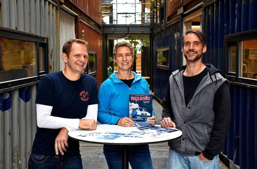 Drei der fünf Initiatoren des Comics (...dl, Frauke Bahle und Julian Waldvogel.    Foto: Thomas Kunz