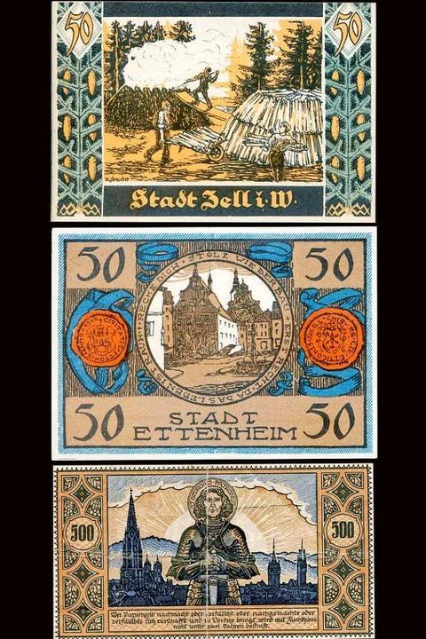 So wie die Städte Zell im Wiesental un...n Freiburg in den 1920 Jahren Notgeld.