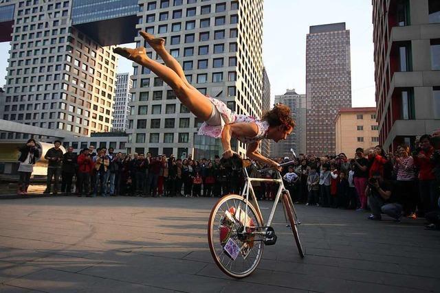 Star beim Kunstradfahren