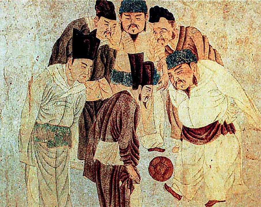 Das alte Gemälde zeigt Kaiser und Premierminister in China beim Cuju.    Foto: Hibaidu