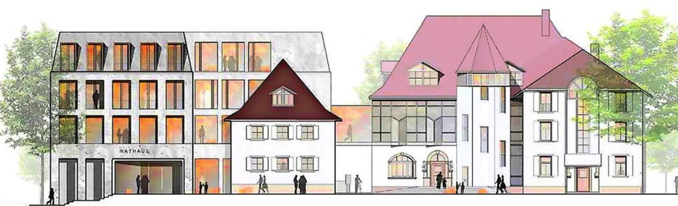 Der moderne Rathausanbau mit großzügig...er Mitte und das alte Rathaus mit Turm