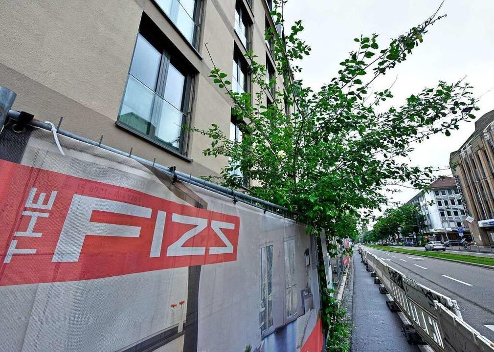 Bauzaun und provisorischer Gehweg vor ... der Habsburgerstraße – mit Baum  | Foto: Michael Bamberger
