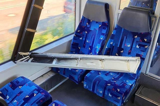 Elztalbahn: Fensterverkleidung löst sich und fällt Passagier auf den Kopf