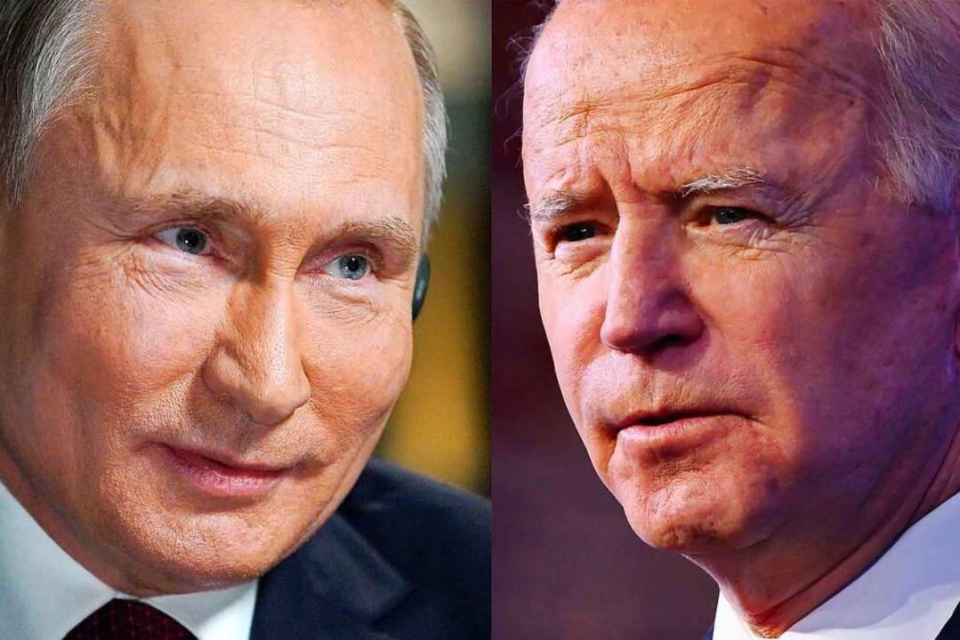 Treffen sich am 16. Juni in Genf: Russ...tin (links) und US-Präsident Joe Biden  | Foto: ANGELA WEISS, ALEXEY DRUZHININ (AFP)