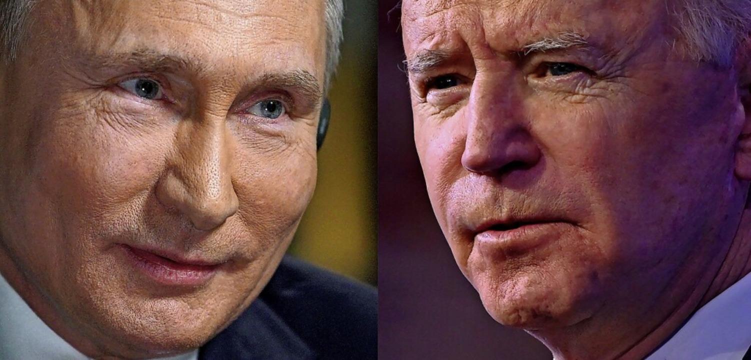 Treffen sich am Mittwoch in Genf: Russ... Putin (li) und US-Präsident Joe Biden  | Foto: ANGELA WEISS, ALEXEY DRUZHININ (AFP)