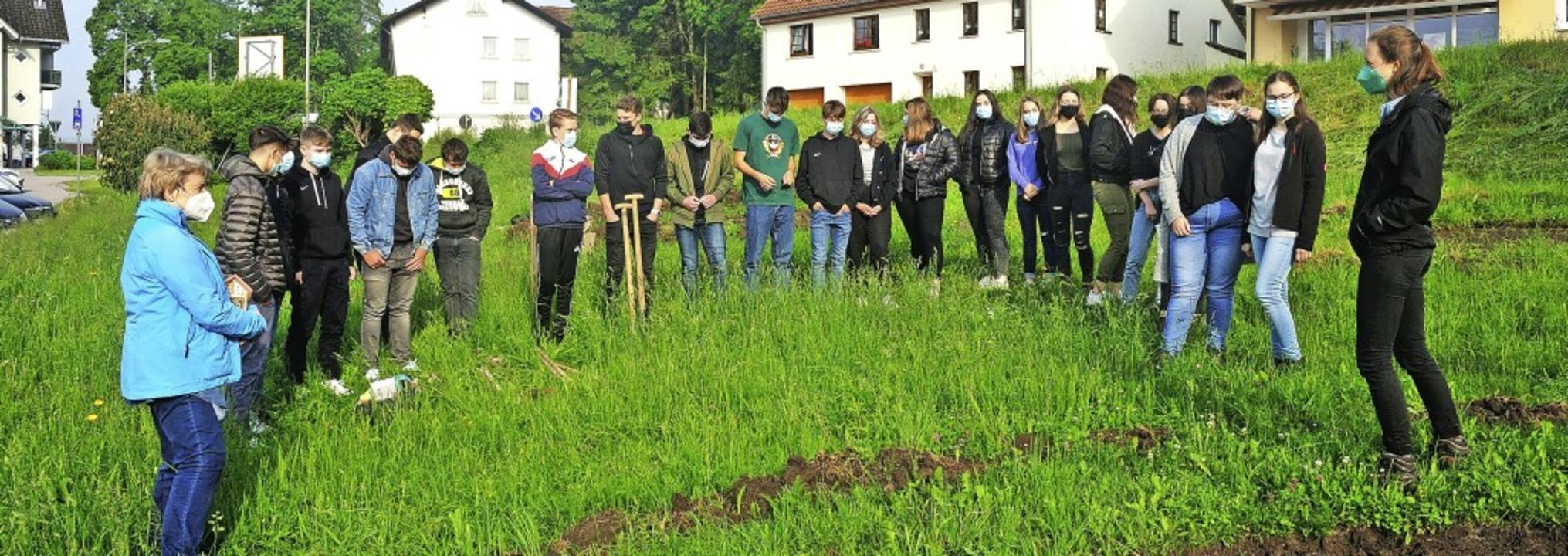 Schülerinnen und Schüler der Naturpark...uf einer Wiese vor der Grundschule an.  | Foto: M.Schwenninger