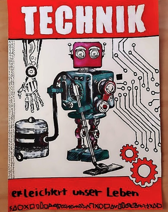 Mit diesem Plakat zum Thema, wie Techn...n ersten Platz beim Wettbewerb belegt.    Foto: Ute Wochner