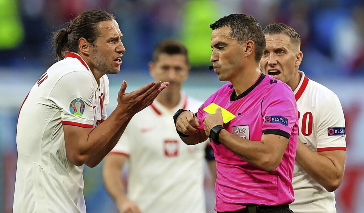 Der rumänische Schiedsrichter Ovidiu H...Grzegorz Krychowiak (links) vom Platz.    Foto: Igor Russak (dpa)