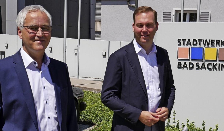 Udo Engel (links), Geschäftsführer der...Bundestagsabgeordnete Felix Schreiner     Foto: Michael Gottstein