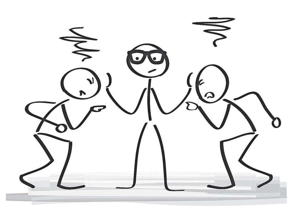 Wenn zwei sich streiten, beruhigt sie der Dritte. Das ist Mediation.    Foto: Trueffelpix - Fotolia