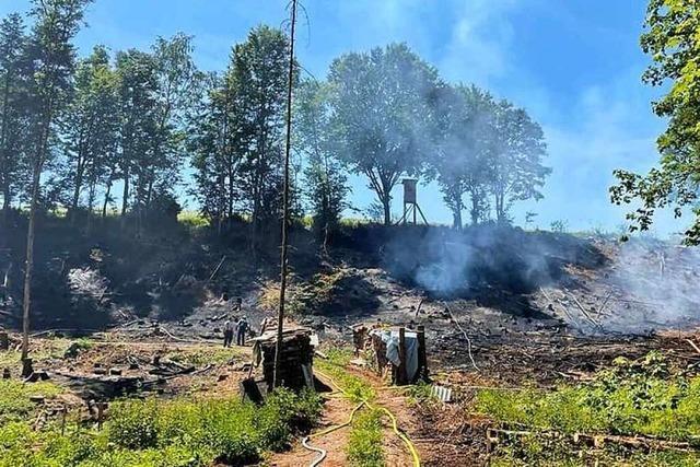 Waldboden zwischen Hänner und Rotzel in Flammen