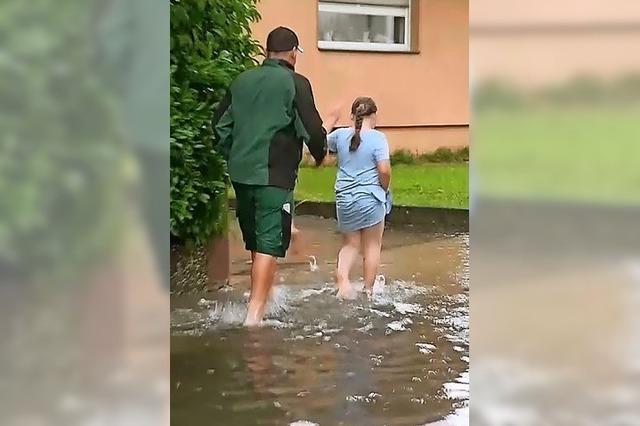Starkregen setzt Keller unter Wasser