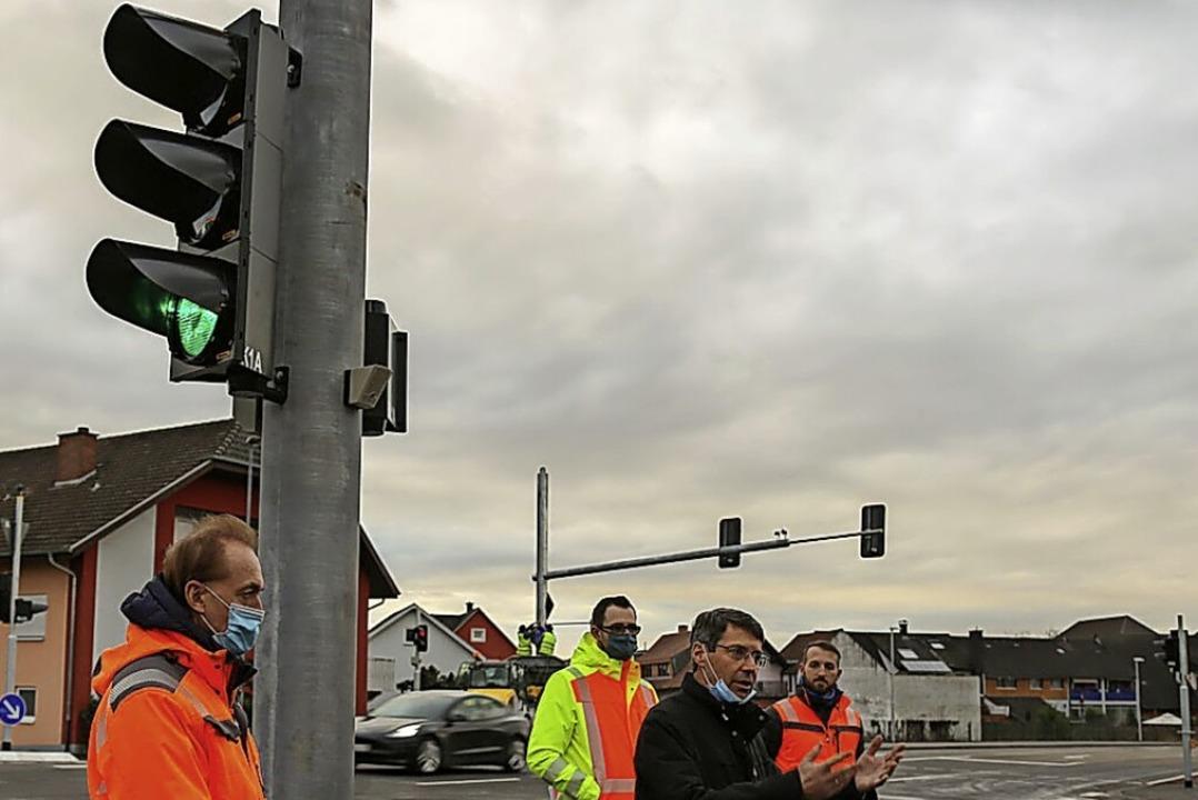 Die  Ampelanlage an der Kreuzung B3/Or...ll sie nun störungsfrei funktionieren.  | Foto: Sandra Decoux-Kone