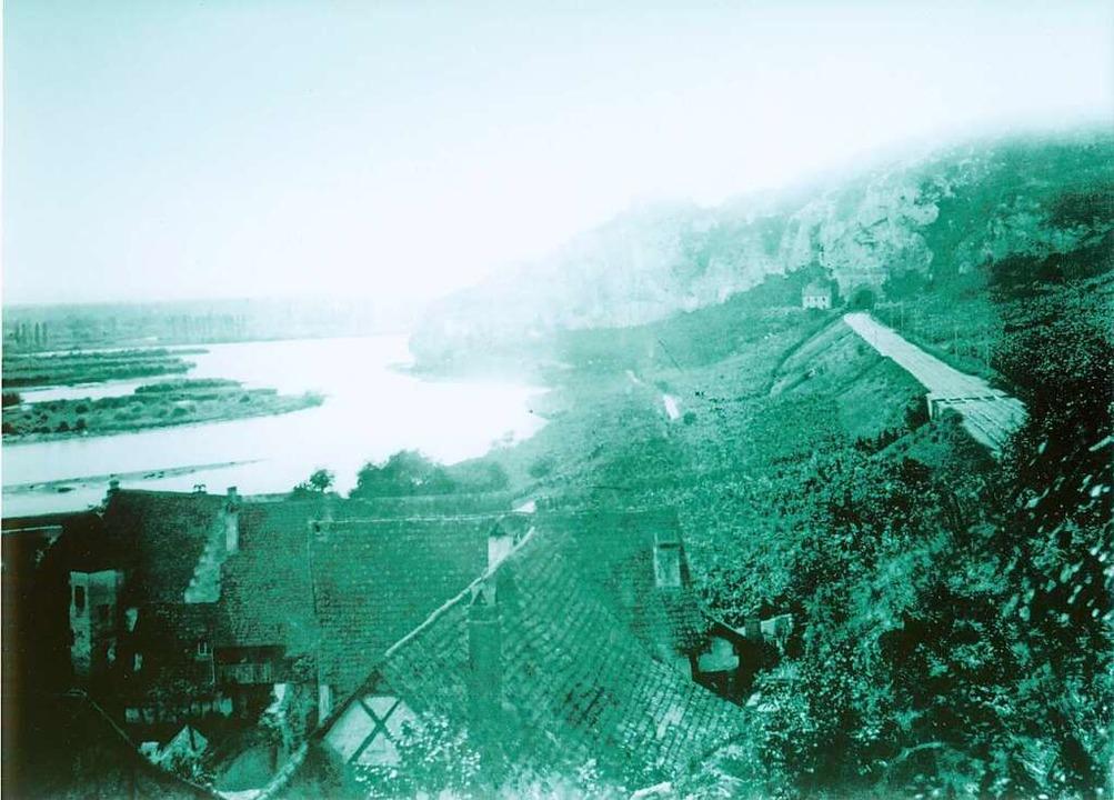 Blick auf den Isteiner Klotz mit der n... Rhein vor der Korrektion durch Tulla.  | Foto: Unbekannt
