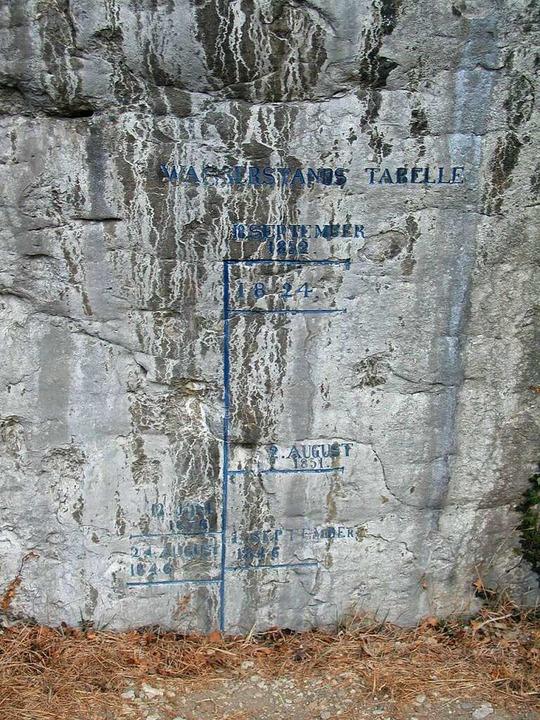 Wasserstandsmarkierungen am  Isteiner Klotz  | Foto: Markus Winzer