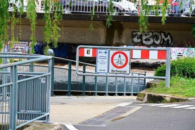 Dreisamradweg in Freiburg aktuell gesperrt