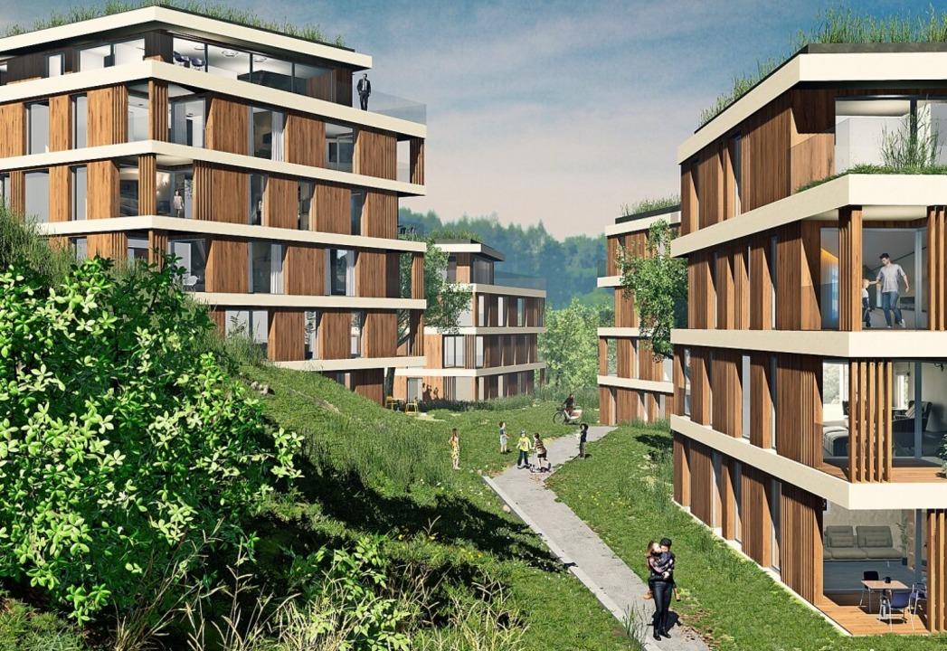 So sollen die vier geplanten Wohntürme...on-Kilian-Straße in Waldshut aussehen.    Foto:  Architekturbüro Henning Musahl