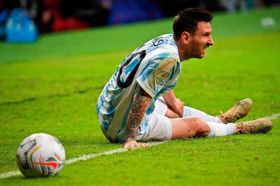 Messi im Trikot der argentinischen Nationalelf.  | Foto: NELSON ALMEIDA (AFP)