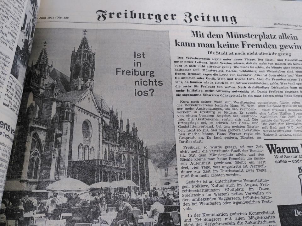 Um Freiburgs touristische Attraktivität sorgte sich die BZ im Juni 1971.    Foto: Moritz Neufeld