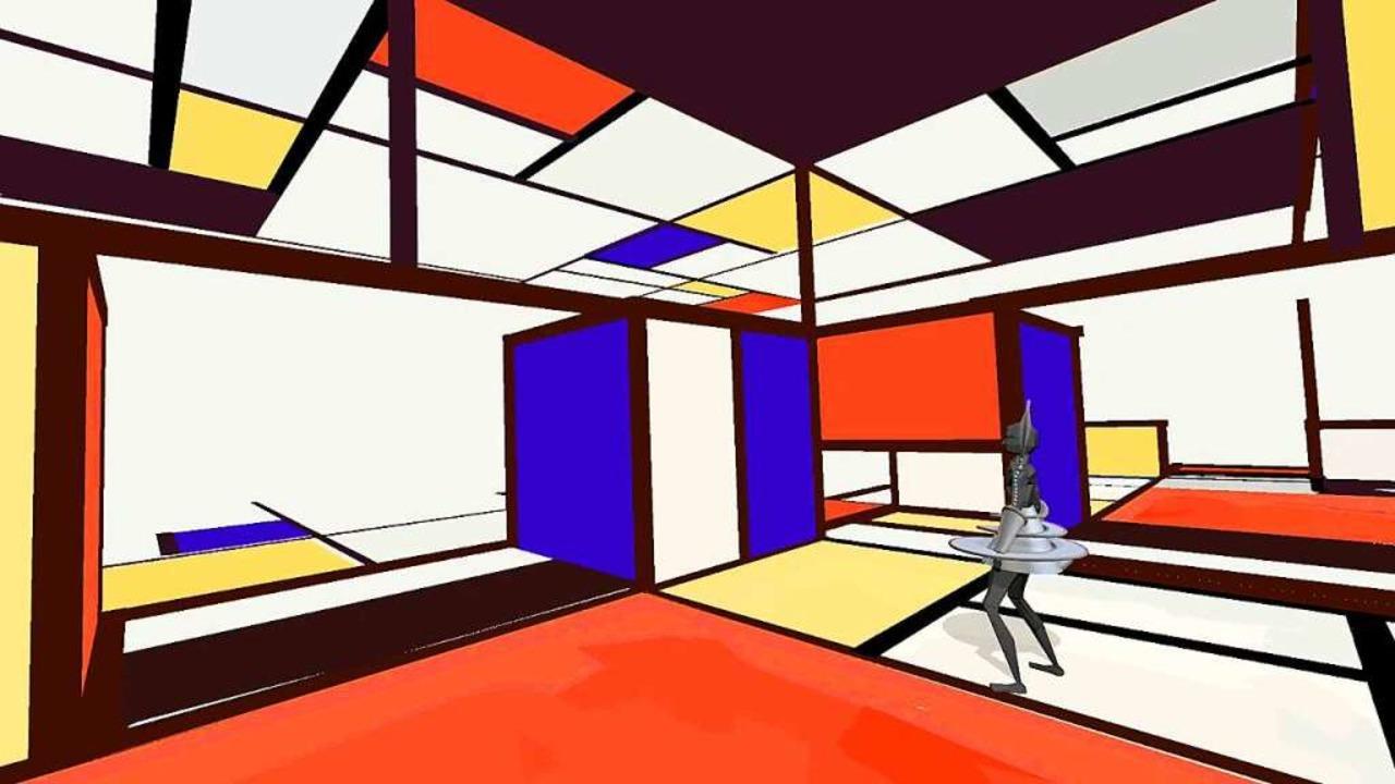 Bei dem Gemälde von Mondrian ragen die...aum, man kann auch um sie herum gehen.  | Foto: Yullbe