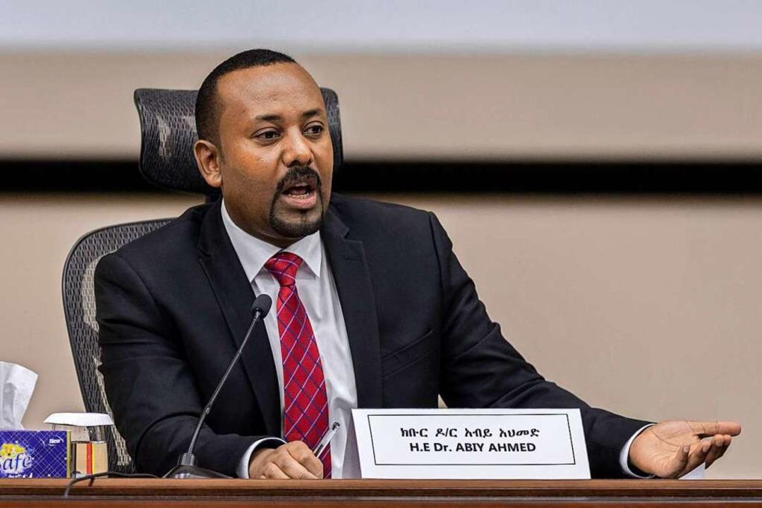 Abiy Ahmed, Premierminister von Äthiop... auf Fragen von Parlamentsmitgliedern.    Foto: Mulugeta Ayene (dpa)