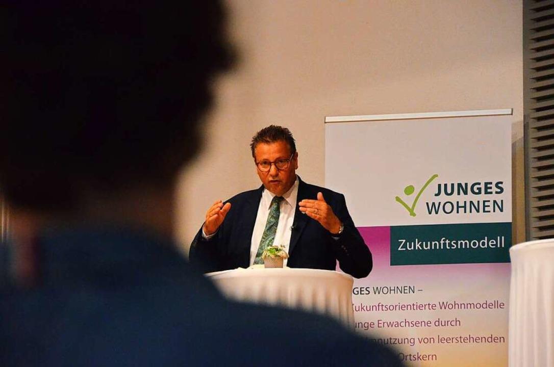 Minister Peter Hauk bei der Abschlussveranstaltung in Herbolzheim    Foto: Felix Lieschke