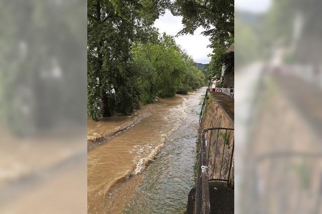 Der Rheinuferweg ist überflutet