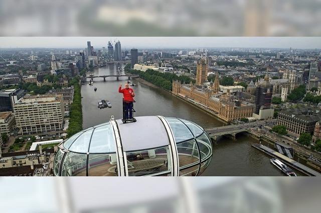 Eine Fußball-Legende über den Dächern Londons