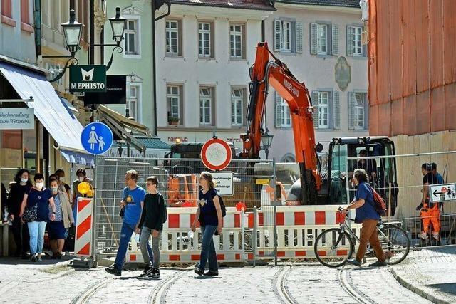 Straßenbahn-Baustelle in der Freiburger Salzstraße liegt im Plan