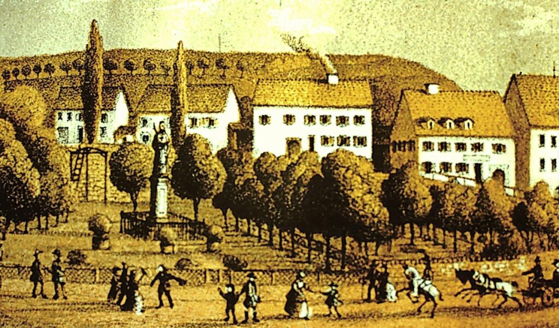 Eine alte Ansicht des Martinsgartens m...kmal des Fürstabts Martin II Gerbert.   | Foto: Privat