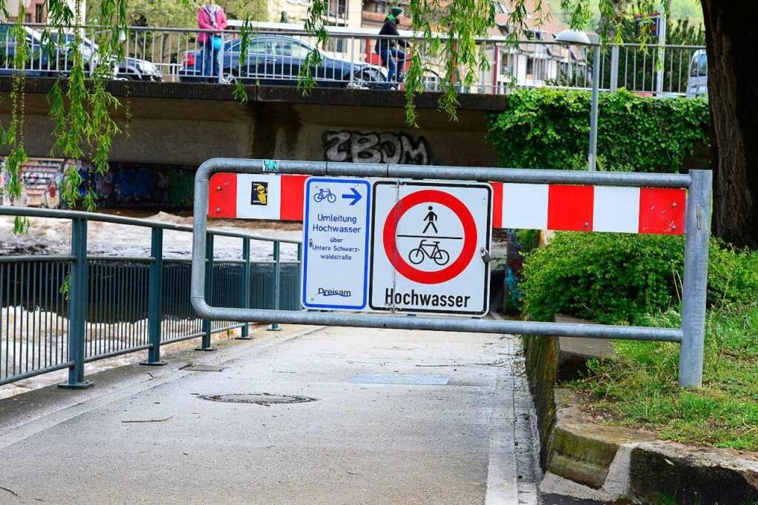 Der Dreisamuferradweg ist  wegen Hochwassers gesperrt (Archivbild).  | Foto: Ingo Schneider